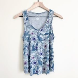 American Eagle Soft & Sexy Floral Tank Top Grey S